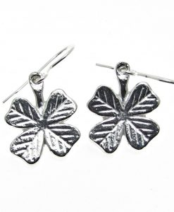 4 leaf clover earrings cast in Cornish tin