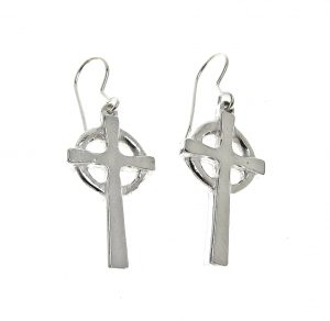 Celtic cross earrings cast in Cornish tin