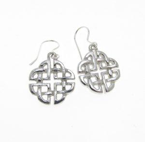 Celtic knotwork earrings cast in Cornish tin