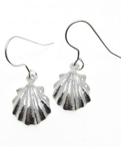 sea shell earrings cast in Cornish tin