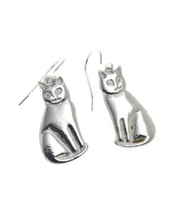 Cat earrings cast in Cornish tin