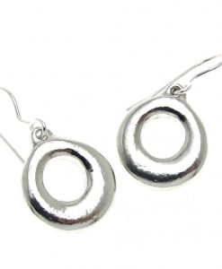 Donut earrings cast in Cornish tin