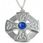 Blue stone set Celtic cross pendant in Cornish tin