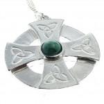 Celtic cross head pendant in Cornish tin with green stone