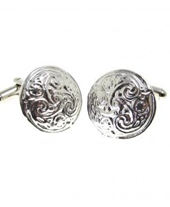 Cornish tin cuff links with swirl pattern