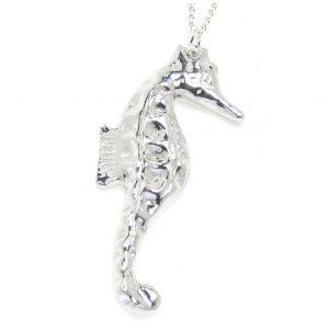 Large seahorse pendant in Cornish tin