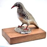 Cornish Chough paperweight cast in cornish tin
