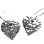 Heart shape earrings cast in Cornish Tin
