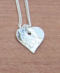Heart pendant with hammered finish