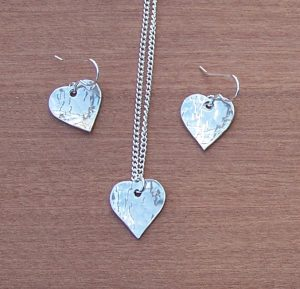 Small heart pendant+earrings